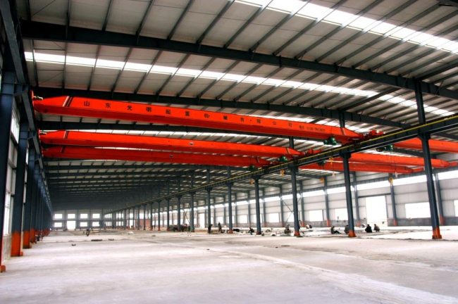 Portal frame  with crane beam fast installation steel structure workshop