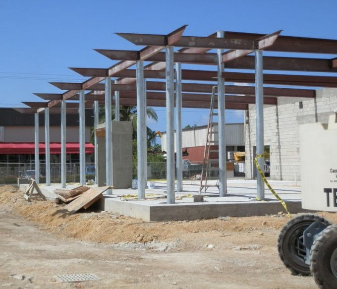 Prefab Fireproof Car Showroom Building Light Steel Frame For Temporary House